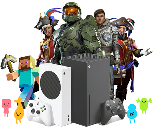 Collage of game characters from Minecraft, Sea of Thieves, Halo, and Gears with the Xbox Series X | S