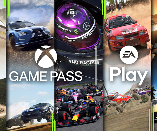 Xbox Game Pass and EA Play Logo in front of Codemaster games